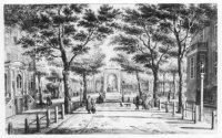 Dat de naam van het Voorhout 'plek voor het bos', betekent, is goed te zien op deze tekening die P.C ...