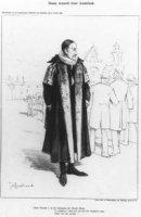 Spotprent op de opening van de zitting der Staten Generaal. Op de voorgrond Prins Willem I met daara ...