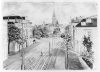 De Alexanderstraat en Plein 1813, gezien vanuit een der gemeentelijke zalen aan de Javastraat.