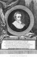portret van hugo de Groot (1583-1645) in cirkel met 8-regelig vers door J. Komen;