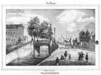 De Wagenbrug gezien vanaf het Groenewegje richting Spui; in het verschiet het Oude Vrouwen- en Kinde ...