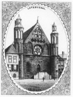 De voorgevel van de Ridderzaal op het Binnenhof. Van 1726 tot 1855 werd de Ridderzaal gebruikt als L ...