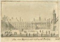 De noordzijde van het Binnenhof; l. de Mauritstoren en het dak van de vergaderzaal van de Staten van ...