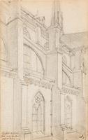 Een fragment van de zijgevel van de R.K. kerk van de H. Jozef aan de Van Limburg Stirumstraat, gezie ...
