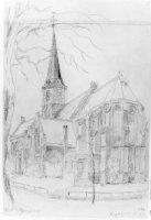 De Grote Kerk in de Herenstraat te Rijswijk met op de voorgrond een entree met traptreden. Uiterst l ...