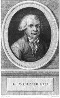 Portret van de politicus Johannes Henricus Midderigh (1753-1800) met naamsonderschrift.