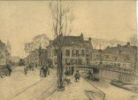 De Loosduinseweg (op de voorgrond, l.) bij de brug naar de Lijnbaan (r.); op de achtergrond l. het W ...
