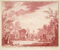 De Spaanse gezanten, buiten Den Haag ontvangen door prins Maurits, 1 februari 1608.