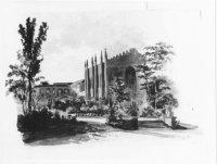De Gotische Zaal achter het paleis Kneuterdijk (l.).