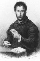 Portret van de letterkundige Janus Secundus gen. Everardi (1511-1536) bij een tafel waarop de rechte ...