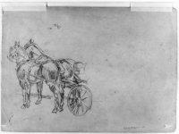 Twee ingespannen paarden met een deel van de koets