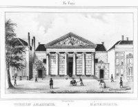 Het neo-klassieke gebouw van de tekenacademie aan de Prinsessegracht. N.B. deze academie is afgebrok ...