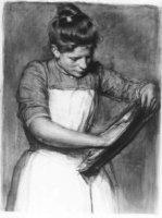 Een meid die een schotel poetst;