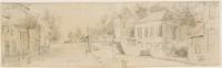 Gezicht van de Geestbrugkade op de Geestbrug. Aan de achterzijde een schets van een landschap en twe ...