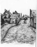 De Vuurbaakstraat [tot 1889 genaamd: Oli?nberg (Schev.)] gezien vanuit de Weststraat richting vuurto ...