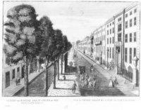 Een primitieve voorstelling van de Herengracht, gezien vanaf de Poten richting Bezuidenhoutseweg.