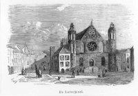 De Ridderzaal op het Binnenhof. Van 1726 tot 1855 diende de Ridderzaal als Loterijzaal voor de trekk ...