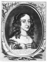 Portret van Mary Stuart (1641-1661), echtgenote van prins Willem II, borstbeeld trois quart naar rec ...