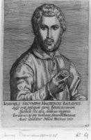 Portret van de letterkundige Janus Secundus gen. Everardi (1511-1536) met in de rechterhand een penn ...