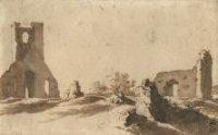 De ruine van de kerk van Eik en Duinen