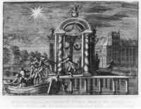 Illuminatie in de vijver ter gelegenheid van de kroning van prins Willem III tot koning van Engeland ...