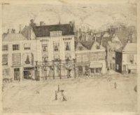 Het hotel Bonsen-Pays Bas aan het Huijgenspark; r., op de hoek met de Kikkerstraat, het Rotterdamsch ...