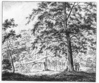 een tekenaar aan het werk in het Haagse Bos, bij de eik door de bliksem getroffen op 8 mei 1807;