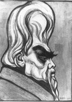 Karikatuurportret van Jan Toorop, kunstschilder.