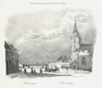 De Oude Kerk in de Keizerstraat in wintertooi met voorbij dravende arreslee, getrokken door paarden. ...