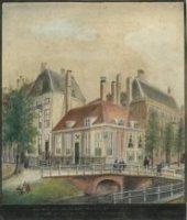 De Bezuidenhoutseweg (l.), hoek Oranjebuitensingel (r.) gezien vanaf de Prinsessegracht.