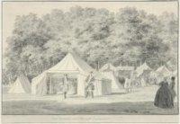 Een gedeelte van het 'Haagse Campement', gezicht op het 'Koffy-Huijs' en andere tenten op het Maliev ...