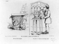 Spotprent op het gebouw van de Hoge Raad. 'Hoe het denkbeeld is ontstaan tot het ontwerpen van 'Het  ...