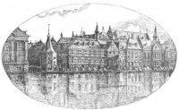 V.l.n.r. de gebouwen van het ministerie van Binnenlandse Zaken (later Algemene Zaken) en het ministe ...