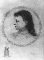 Portret van Wilhelmina Helena Pauline Maria (1880-1962) prinses der Nederlanden, borstbeeld en profi ...