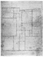 Het plattegrond van een nieuwe indeling van de huizen aan de Lange Vijverberg en Tournooiveld.