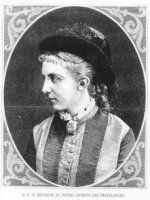 Portret van prinses Hendrik der Nederlanden, borstbeeld, en profil. De jonge prinses heeft een hoed  ...