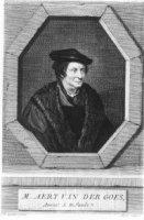 Portret van de staatsman mr. Aert van der Goes in 8-hoekig kozijn en met onderschrift waarin naam en ...