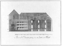 Het ontwerp voor de aanbouw van de schouwburgzaal en het toneel voor de verbouwing van het Paleis va ...