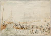 Historie Den Haag; het vertrek van Willem V van Scheveningen; het gezelschap wordt aan boord geroeid ...