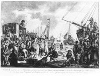 Vertrek van de prinses van Oranje van Scheveningen op 18 januari 1795