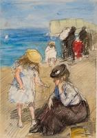 Een meisje bij haar moeder, die op het strand gezeten is; op de achtergrond m. een spelend meisje, o ...