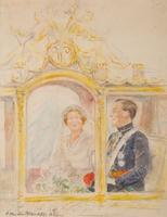 Prinses Juliana en Prins Bernhard in de Gouden Koets tijdens hun huwelijk op 7 januari 1937.