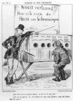 Spotprent op de plannen van burgemeester J.G. Patijn betreffende de Scheveningse haven. Burgemeester ...