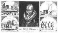 Portret van Johan van Oldenbarnevelt, borstbeeld, trois quart. Onder het portret staat de titel: ver ...