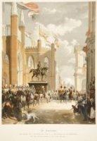 De Grenadiers defileren op 17 november 1843 voor Z. M.de Koningin bij de onthulling van het standbee ...