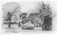 Het huis Leyenburg bij het begin van de Leyweg, tussen de latere Loosduinsekade, Volendamlaan en Med ...