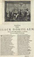 Pamflet met afbeelding van de moordaanslag op de Engelse gezant Isack Dorislaen door gemaskerde mann ...