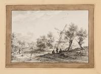 Gezicht naar het dorp Naaldwijk. Op de voorgrond 3 mannen in gesprek. Rechts is een molen te zien.