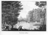 De Grote Vijver in het Haagse Bos met de Zwitserse Brug en in het ver?schiet de koepel van het palei ...