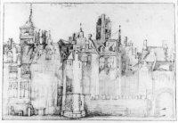 De oudste betrouwbare en gedetailleerde afbeelding van het kasteel van de heren van Wassenaer aan de ...